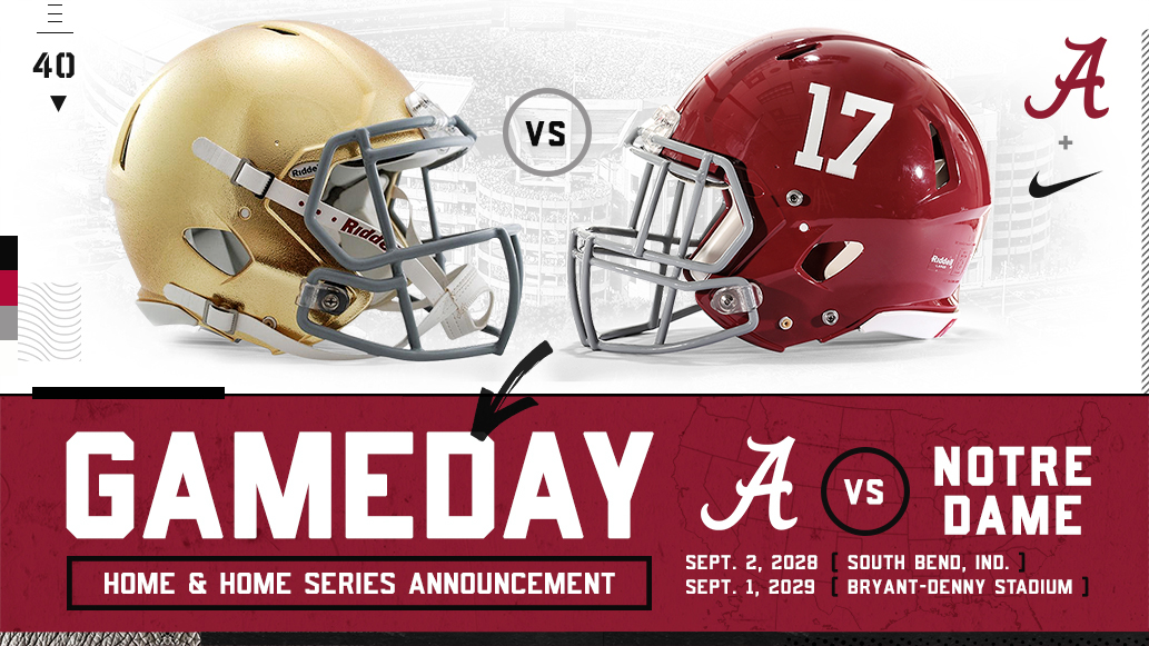 Alabama And Notre Dame Announce Home And Home Series University Of Alabama Athletics